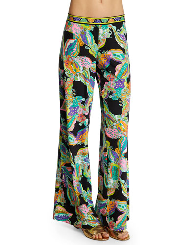 Sea Garden Floral-Print Wide-Leg Coverup Pants
