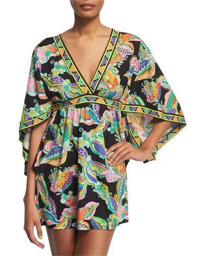 Sea Garden Floral-Printed Tunic Coverup, Black