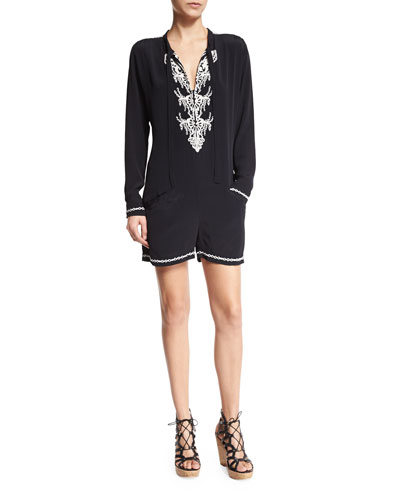 Deby Debo Agatha Long-Sleeve Embroidered Romper. Black