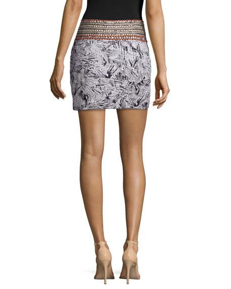 Djali Embellished-Waist Mini Skirt, Multi Colors