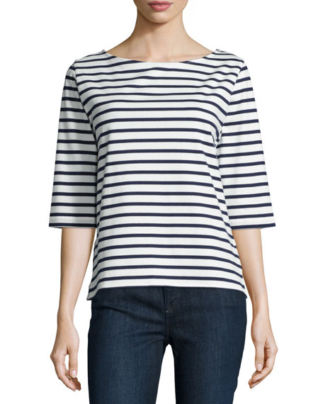 Majestic Paris for Neiman Marcus Half-Sleeve Striped Tee