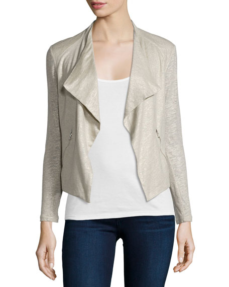 Majestic Paris for Neiman Marcus Linen-Silk Drape Cardigan