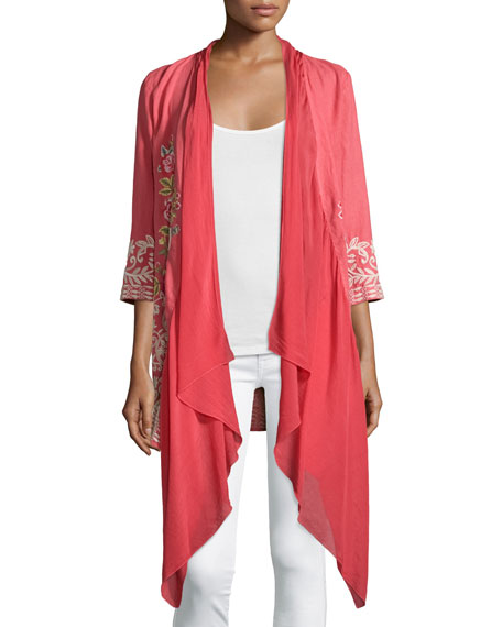 Johnny Was Collection Michaela Draped-Front Embroidered Cardigan, Dusty Coral