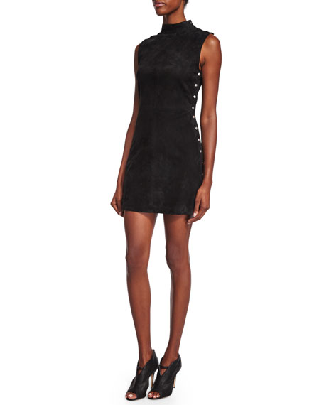 T by Alexander Wang Studded Stretch-Suede Dress, Black