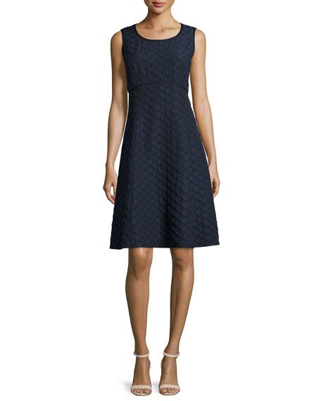 Lafayette 148 New York Shawn Sleeveless Jacquard Fit & Flare Dress