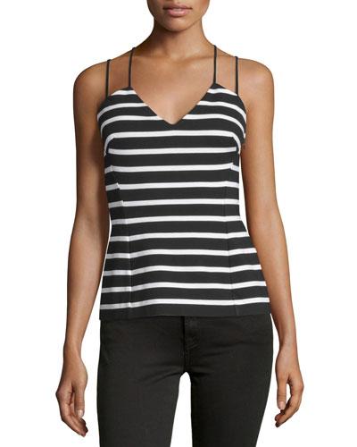 Troy Sleeveless Striped Top, Black/White