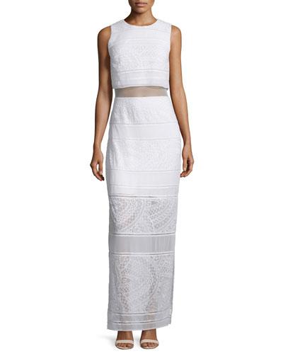 Delos Sleeveless Sheer-Inset Maxi Dress, Cream