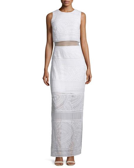 Bailey 44 Delos Sleeveless Sheer-Inset Maxi Dress, Cream