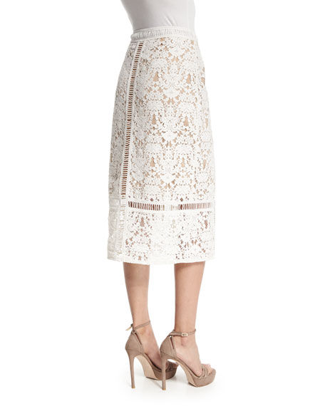 Bailey 44 Silver Springs Lace Midi Skirt, Cream