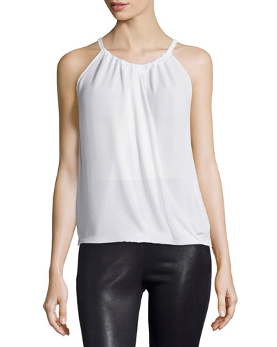 Cristine Wrap-Front Sleeveless Blouse