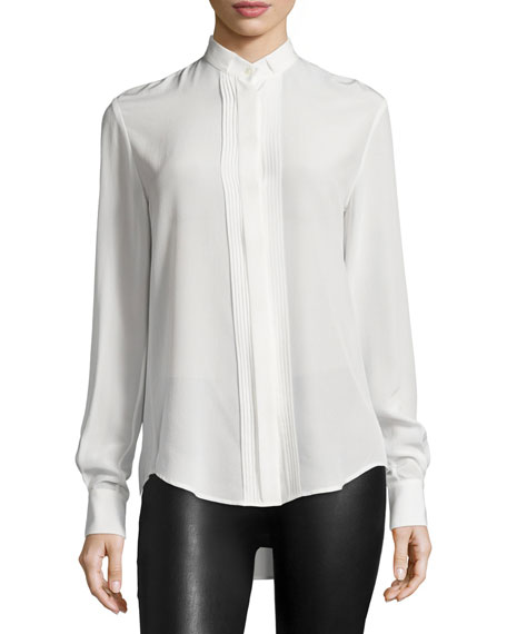 Joseph Ambrosie Pleated-Front Silk Shirt, Ivory