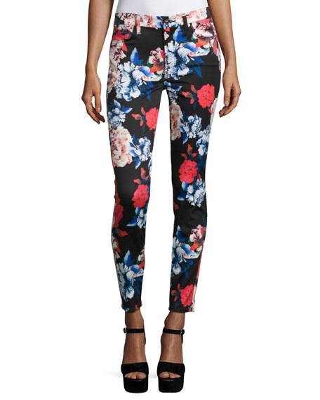 7 For All Mankind The Mid-Rise Ankle Skinny Jeans, Peony Floral