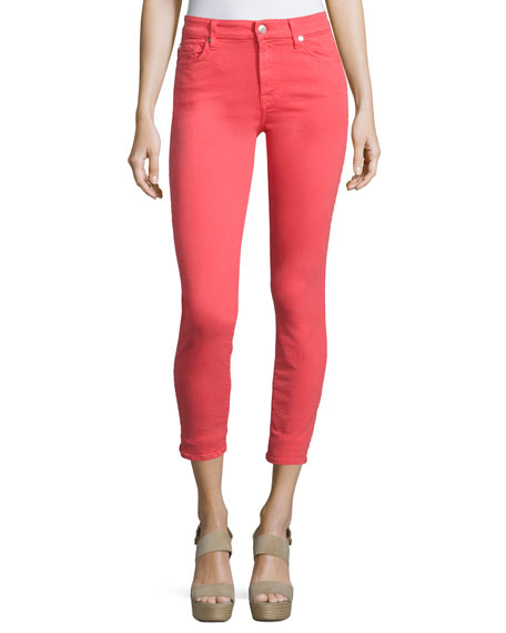 7 For All Mankind The Mid-Rise Skinny Ankle Jeans, Red