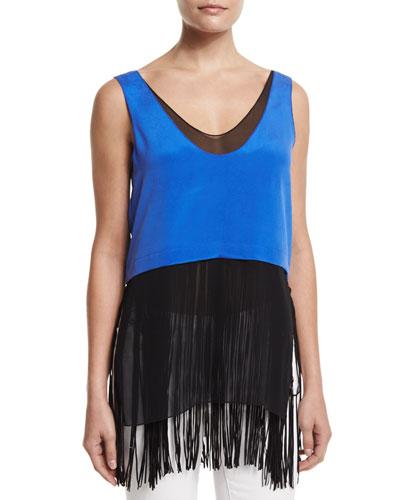 Foundrae Sleeveless Layered Silk Fringe Top, Cobalt