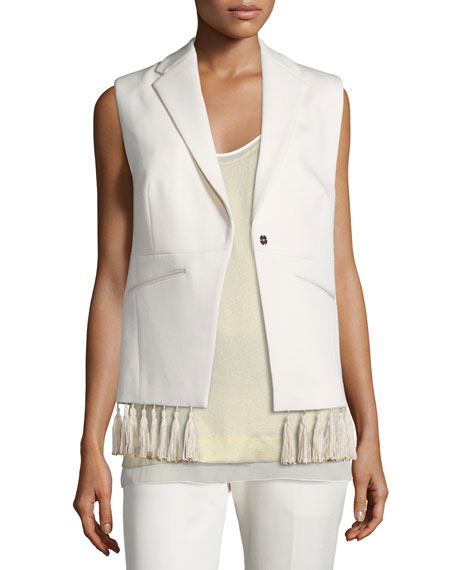 Foundrae Tassel-Trim Crepe Vest, Cream