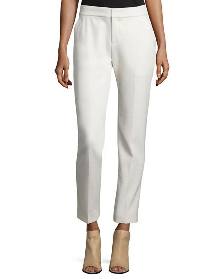Foundrae Creased Slim-Fit Wool-Blend Pants, Cream