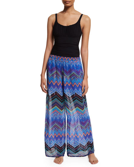 Profile by Gottex Skyline Coverup Wide-Leg Pants, Multi