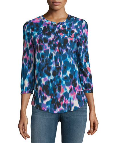 3/4-Sleeve Animal-Print Pleated-Back Blouse