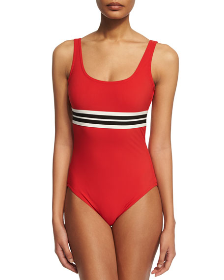 Karla Colletto Parallel Striped Band Round-Neck One-Piece