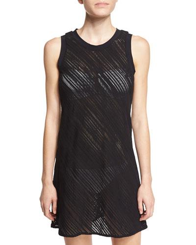 Diagonal-Lace Sleeveless Coverup Dress