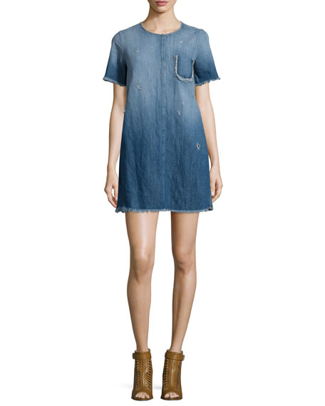 Current/Elliott The Frayed-Edge Denim Shift Dress, Blue