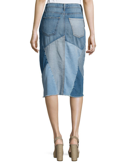 The Patchwork Denim Skirt, Tidal Wave