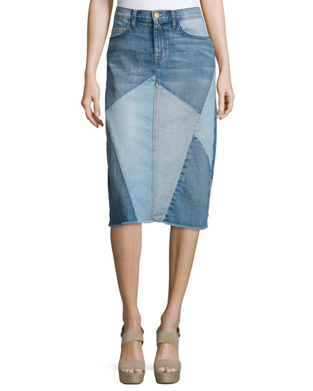 Current/Elliott The Patchwork Denim Skirt, Tidal Wave