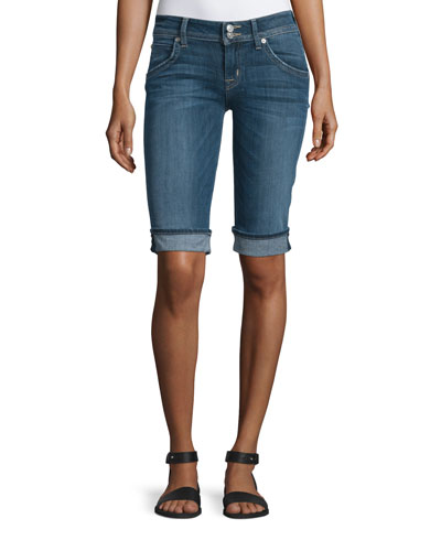 Palerme Denim Knee Shorts, Alabaster Dazed