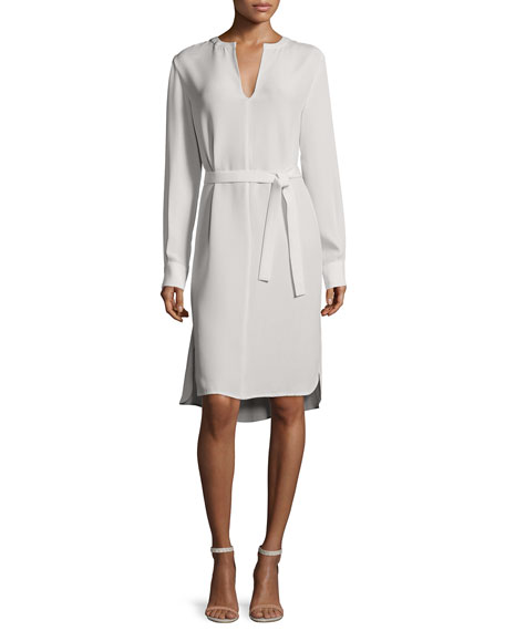 Joseph Long-Sleeve Peggy Silk Shirtdress, Putty