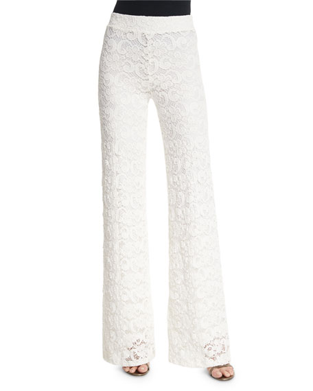 Nightcap Clothing Dixie High-Waist Lace Trousers, Ecru