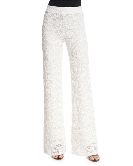 Nightcap Clothing Dixie High-Waist Lace Trousers, Ecru