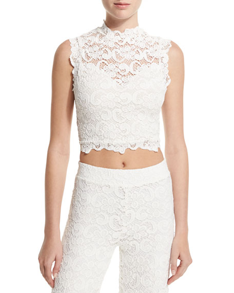 Dixie Sleeveless Lace Crop Top, Ecru