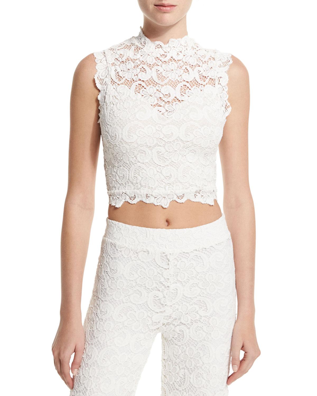 0fec8020f9704d Nightcap Clothing Dixie Sleeveless Lace Crop Top