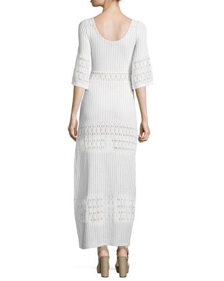 Scoop-Neck Lace Maxi Dress, Ecru