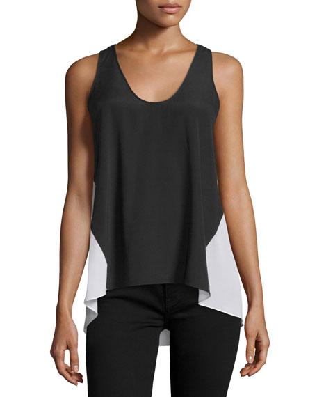 Ramy Brook Jacob Scoop-Neck Colorblock Tank, White/Black