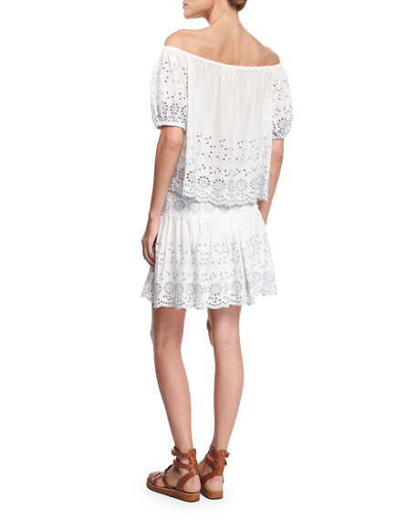 See by Chloe Boxy Off-the-Shoulder Eyelet Top, White