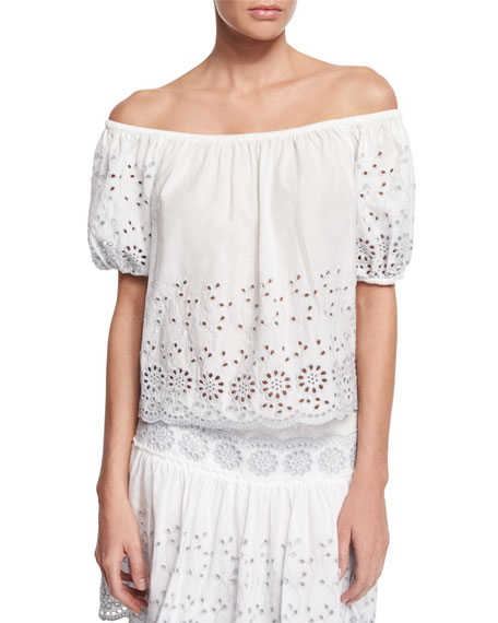 1ffe05c758 See by Chloe Boxy Off-the-Shoulder Eyelet Top   Eyelet Mini Skirt