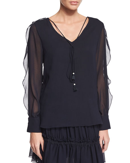 See by ChloeSheer-Sleeve V-Neck Georgette Blouse, Dark Navy