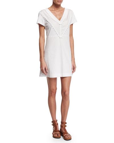Cotton V-Neck Mini Dress, White