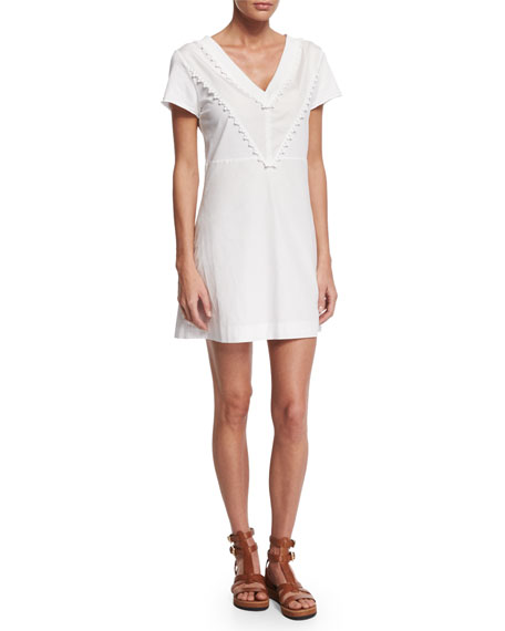 See by Chloe Cotton V-Neck Mini Dress, White
