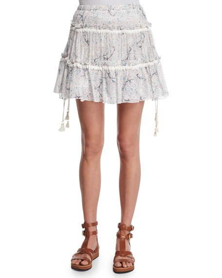 See by Chloe Tiered Floral A-Line Skirt, Off White