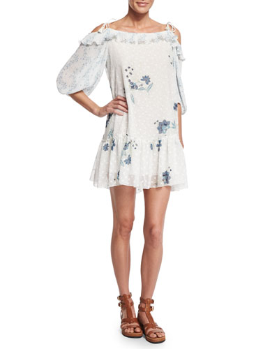 Cold-Shoulder Floral & Polka-Dot Georgette Dress, Off White