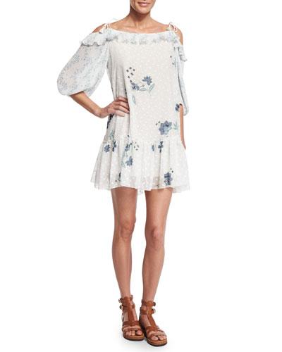 Cold-Shoulder Floral & Polka-Dot Georgette Dress, Off White