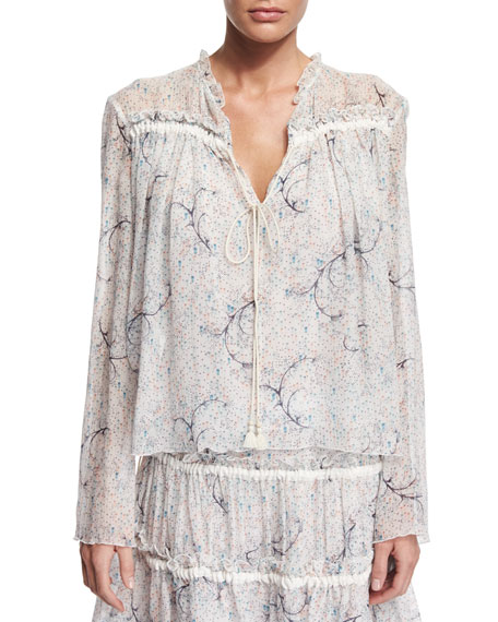See by ChloeLong-Sleeve Floral Tie-Front Blouse, Off White