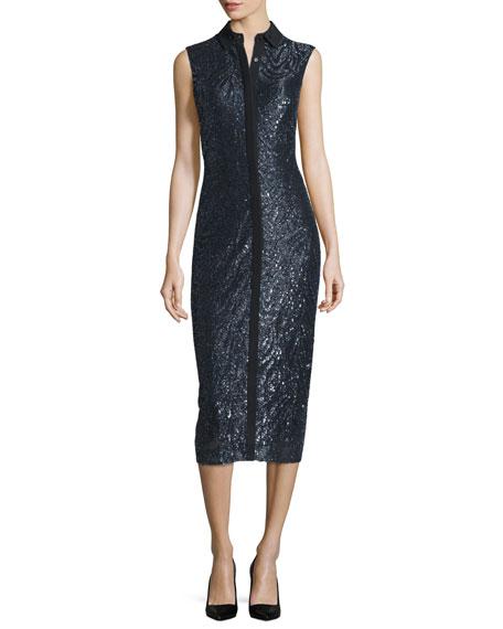 Jason Wu Sleeveless Metallic-Embroidered Shirtdress, Black