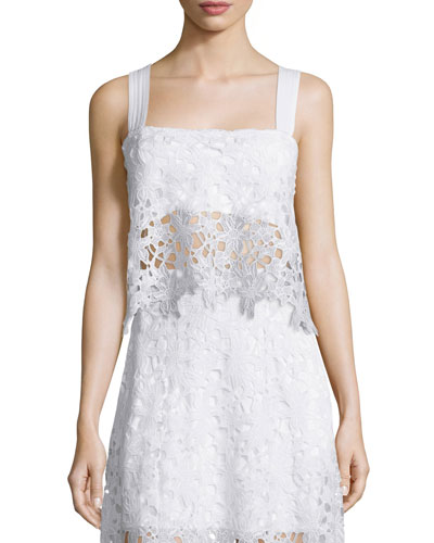 Sissi Sleeveless Lace Top, White