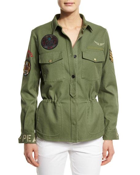 Zadig & Voltaire Cotton Button-Front Military Jacket, Khaki