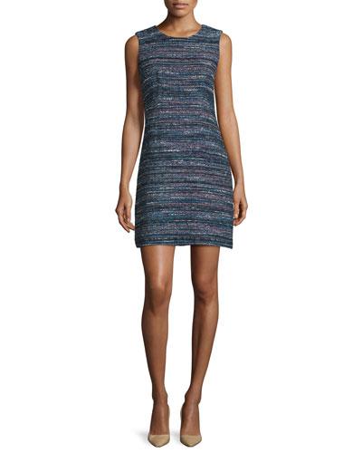 Carrie Sleeveless Tweed Mini Dress, Black/Indigo/Camellia