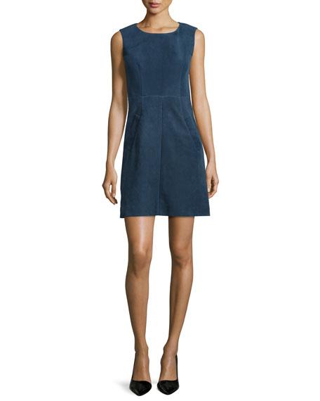 Diane von Furstenberg Capreena Sleeveless Suede Mini Dress,