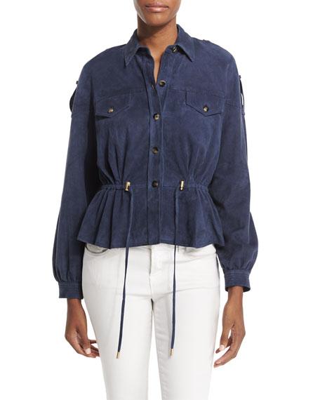 Frankie Suede Button-Front Jacket, Deep Indigo